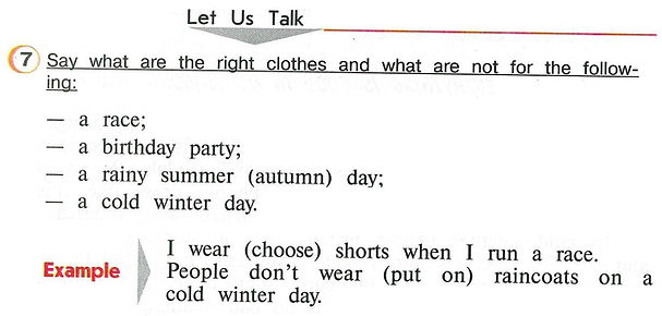 Английского языка онлайн Say what are the right clothes and what are not for the follownig: