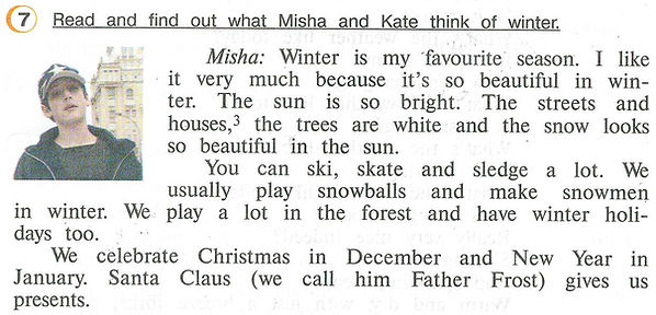 Верщагина 4 класс учебник ответы Read and find out what Misha and Kate think of winter.