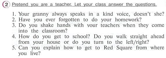 Гдз по английскому 4 класс верещагина учебник часть 2 упражнение 2  Pretend you are a teacher. Let your class answer the questions.