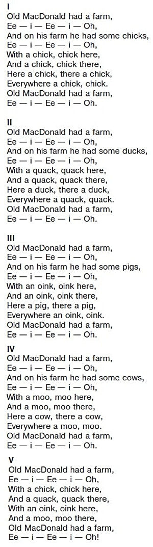 "слушать звук 108 ""old Macdonald had a farm"" текст песниold Macdonald had a farm"