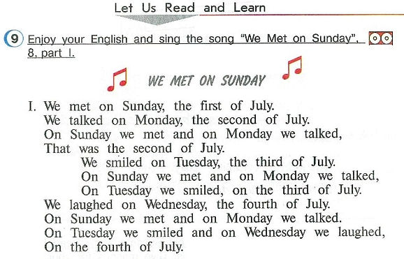 """Let us read and learn.  Enjoy your English and sing the song """"We Met on Sunday"""". We Met on Sunday слушать верещагина афанасьева 4 класс урок 9 страница 38"""