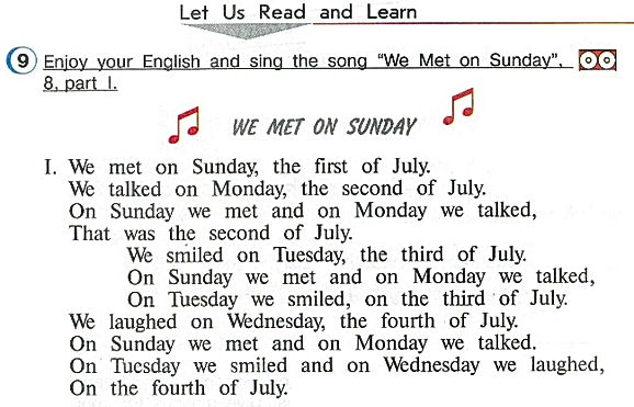 "Let us read and learn.  Enjoy your English and sing the song ""We Met on Sunday"". We Met on Sunday слушать верещагина афанасьева 4 класс урок 9 страница 38"