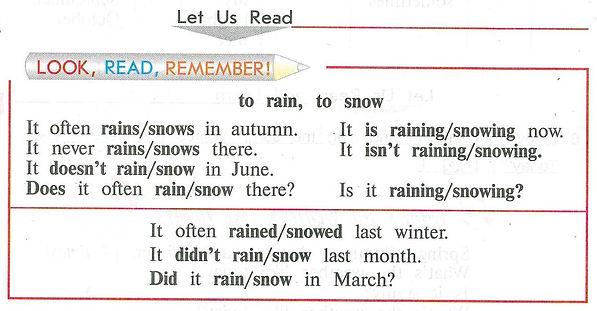 to rain to snow правило как писать Английского языка 4 класс учебника