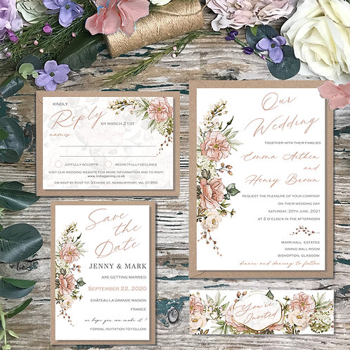 Blush garden wedding invitation