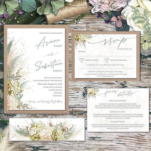 Sage green pampas grass wedding Invitation