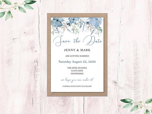 Dusty Blue Garden Save the Dates