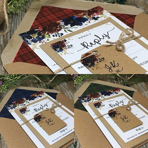 Burgundy and Navy Winter Wedding Invitations