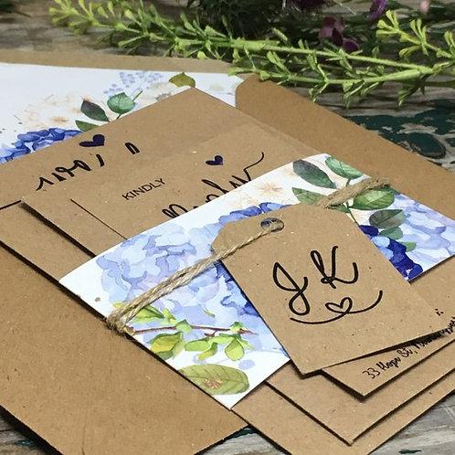 Hydrangea Wedding invitations - Kraft