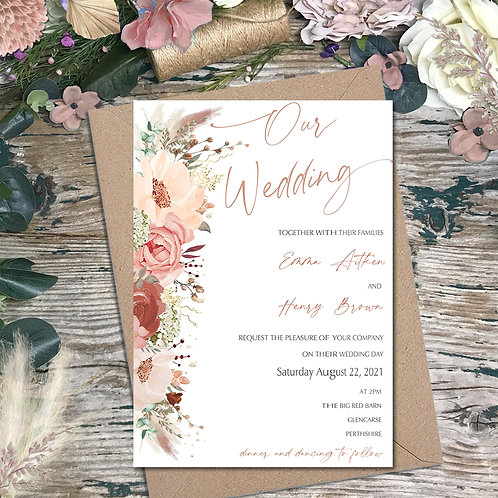 Cinnamon and Rose wedding invitation