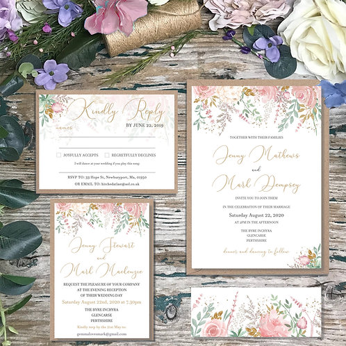Dusty Pink Wedding Invitations 2020 collection