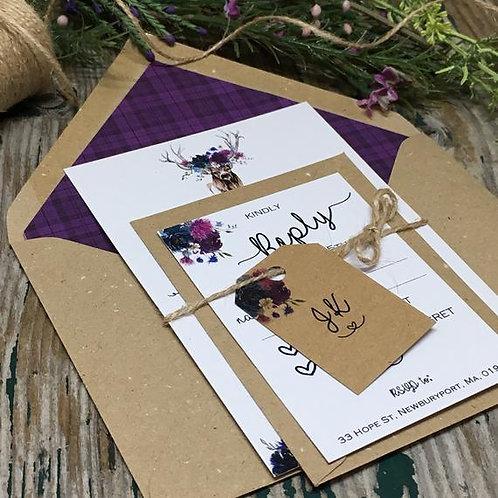 Stag spring wedding invitation