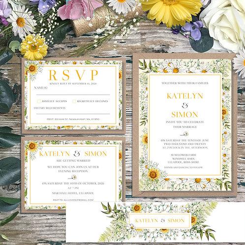 Daisy Season wedding Invitation
