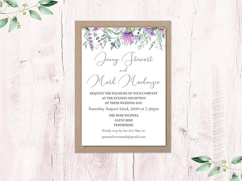 Scottish Thistle and Heather Evening Invite