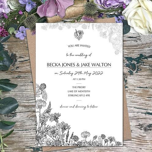 Thistle meadow wedding invitation