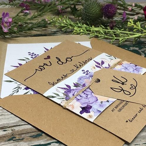 Kraft  Purple and Lilac Wedding Invitations