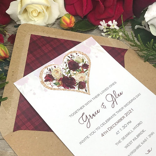 Winter wedding invitation with Roses