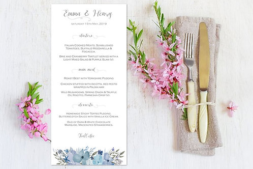 Wedding day menus