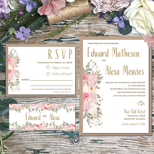Vintage Pink and Gold Wedding Invitations