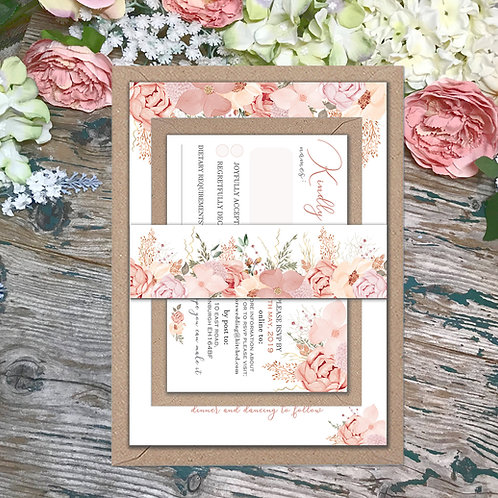 Rose gold and Blush wedding invitation