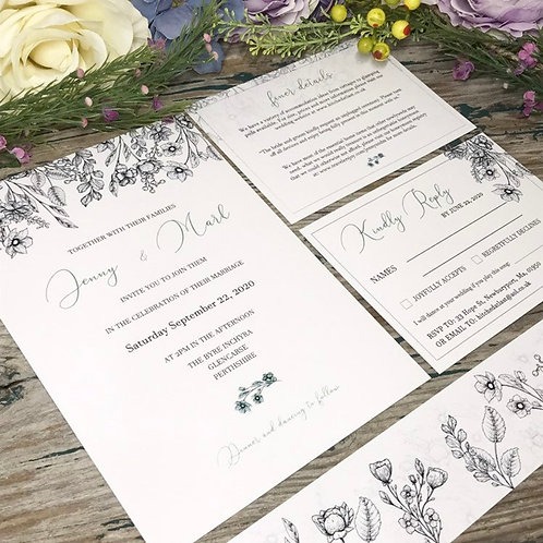 Wild flower Black and White wedding invitations