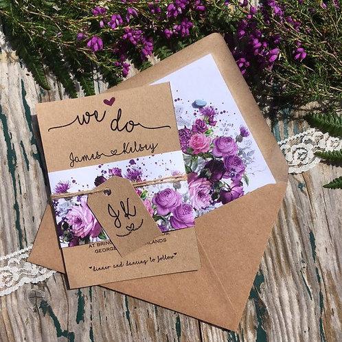 Scottish thistles and Roses Wedding Invitation - Kraft