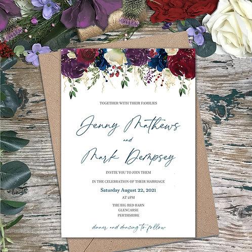 Winter garden wedding invitations