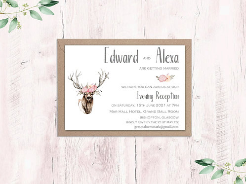 Dusty pink stag Evening Invite