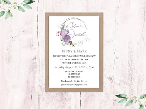 Mauve & Lilac Circle Evening Invite