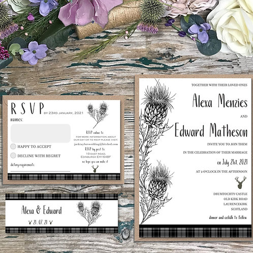 Black and white scottish wedding invitations