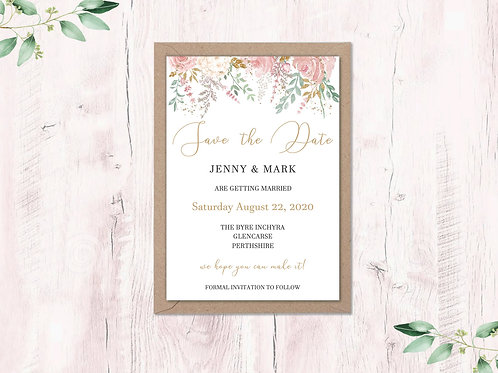 Dusty Pink Garden Save the Dates