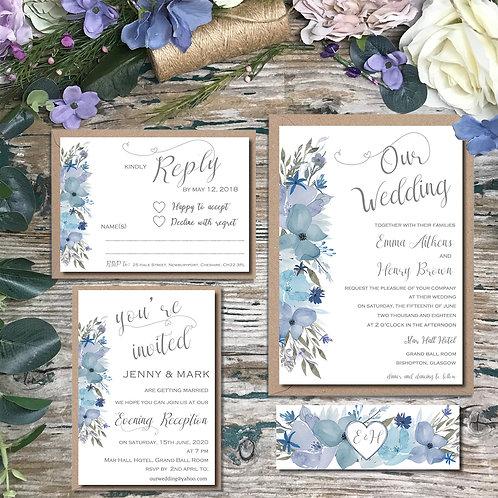 Hazy Day Dusty Blue and Navy Wedding Invitations