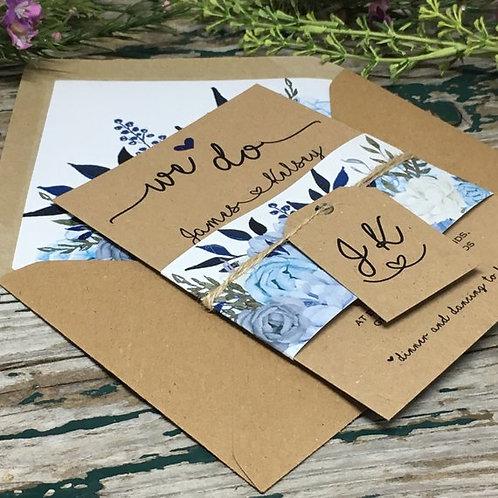 Kraft Dusty Blue Vintage Roses Wedding Invitation