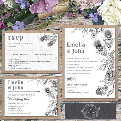 Scottish garden thistle wedding invitations