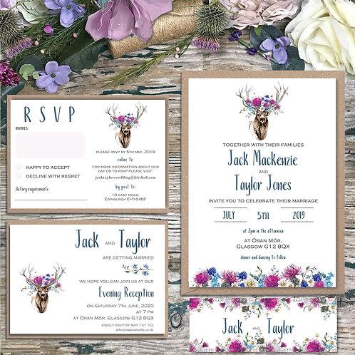 Stag Crown Scottish Wedding Invitations