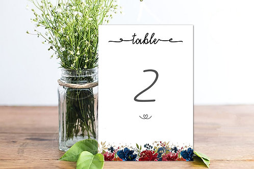Table numbers seasons collection