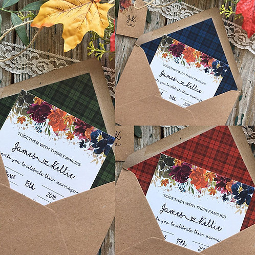 Scottish Autumn Tartan Wedding Invitations