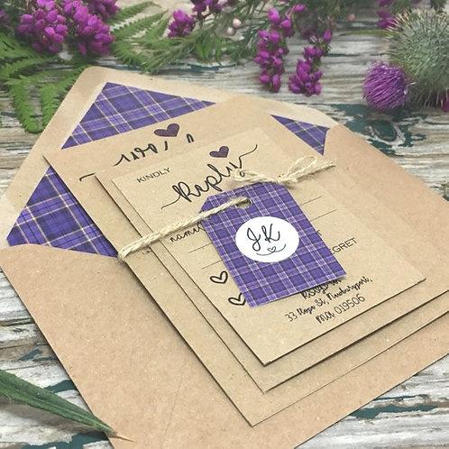 Kraft Scottish Tartan Wedding Invitations