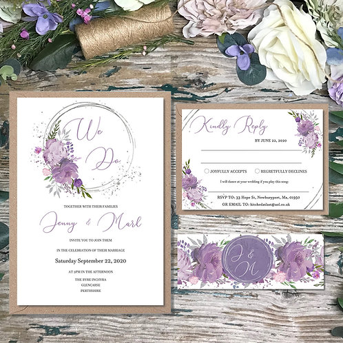 Mauve and Lilac Circle Wedding Invitations