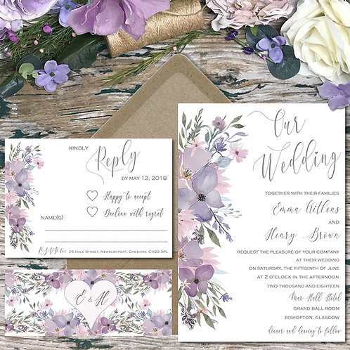Hazy Day Mauve and Purple Wedding Invitations
