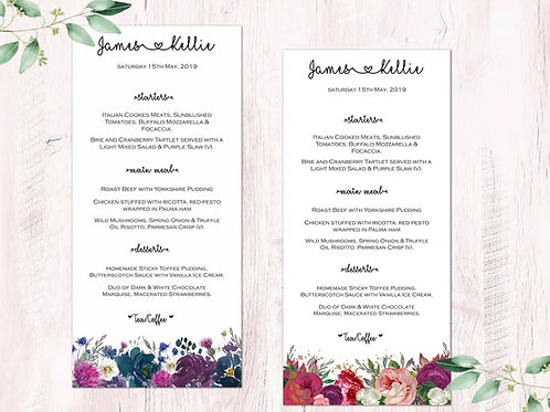 Wedding day menus Scottish seasons collection