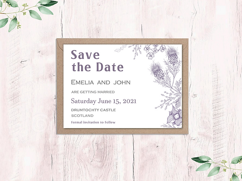Scottish Thistle Garden Save the Dates