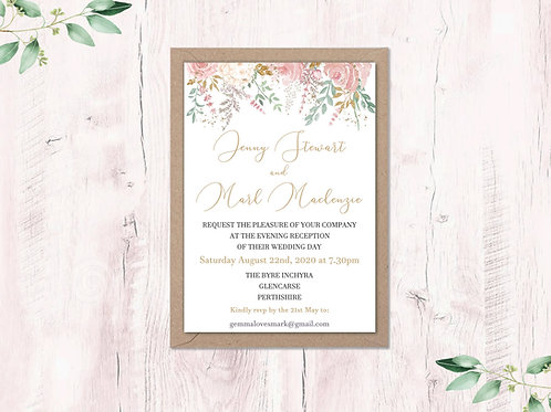 Dusty Pink Garden Evening Invite