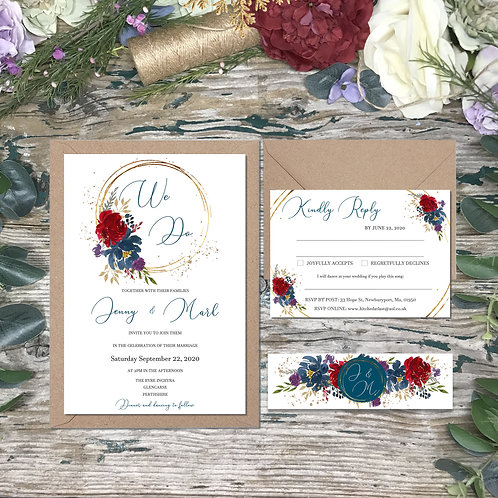 Navy Wedding Invitations with burgundy