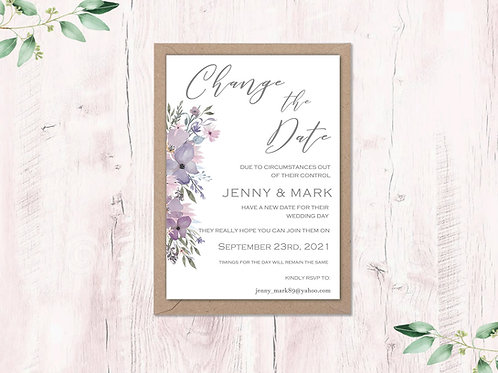 Change the date card Mauve and Lilac Hazy Day