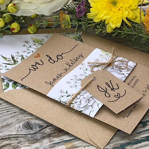 Sunflower and Daisy Kraft Wedding Invitation