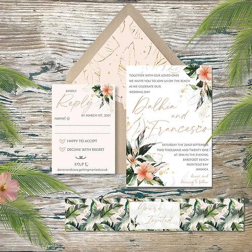 Blush bouquet destination wedding invitations