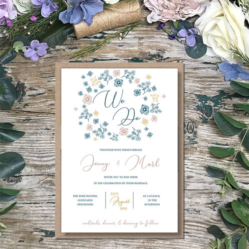 Ditsy blue wedding invitations