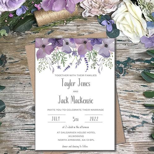 Plum garden purple wedding invitations