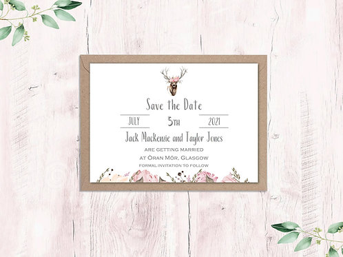 Blush Stag Crown Save the Date