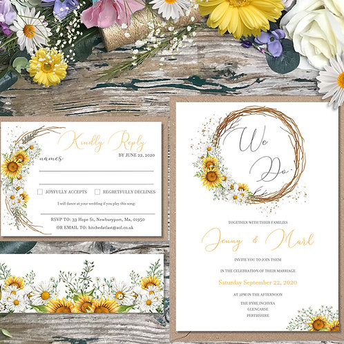 Sunflower and Daisy Circle Wedding Invitations